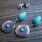Southwestern Earrings Rhinestone Silver Turquoise Gypsy Boho Cowgirl Jewelry Set
