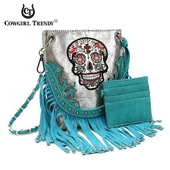 COWGIRL TRENDY Sugar Skull Fringe Bling Messenger Handbag Purse Turquoise Silver