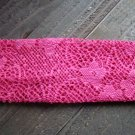Pink Crochet Knit Woven Lace Stretch Wide Headband Wrap Hair Accessory Polyester