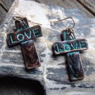 Rustic Copper Cross Etched Turquoise LOVE Dangle Hook Alloy Earrings Cowgirl Fashion Jewelry