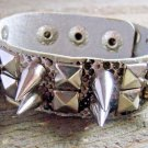 Off White Faux Snake Skin Print Leather Spike Stud Wristband Wrap Bracelet Rock Fashion
