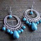 Long Turquoise Bead Chandelier Dangle Earrings Cowgirl Boho Fashion Jewelry