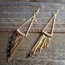 Long Gold Tone Chandelier Hook Earrings Arrows Triangle Fashion Jewelry