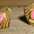Vintage Gold Tone Shell Fan Shaped Pink Acrylic Stud Earrings Fashion Jewelry