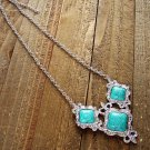 Filigree Triple Simulated Turquoise Stone Pendant Silver Chain Necklace Cowgirl Fashion Jewelry