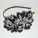 Rhinestones Faux Pearl Black Beige Side Ruffle Fabric Black Headband Fashion Hair Accessory