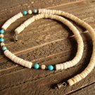 Vintage Southwestern White Shell Blue Glass Bead Necklace Tribal Fashion Jewelry