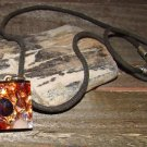 Retro Vintage Glass Artwork Square Pendant Rope Necklace Boho Fashion Jewelry