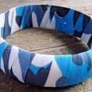 Blue Camouflage Camo Print Chunky Wide Bangle Bracelet Cowgirl Fashion Jewelry