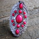 Pink Gypsy Boho Style Statement Ring Silver Tone Oval Adjustable Fashion Jewelry
