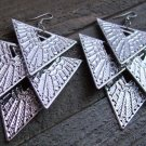 "4"" Long Silver Cascading Geometric Triangle Dangle Chandelier Earrings Fashion Jewelry"