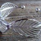 Silver Tone Wide Multi Leaf Rhinestones Cuff Bracelet Boho Fashion Jewelry