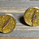 Vintage Metallic Yellow Acrylic Round Gold Tone Alloy Stud Back Earrings Jewelry