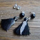 Silver Feather Black Tassel Rhinestone Dangle Earrings Set Boho Gypsy Cowgirl Fashion Jewelry