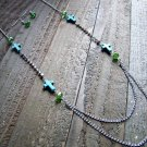 Turquoise Cross Rhinestones Green Beads Long Necklace Earrings Set Cowgirl Jewelry