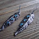Silver Feather Shape Earrings Turquoise Crosses Gypsy Boho Cowgirl Fashion Jewelry