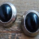 Vintage Oval Black Onyx Rhinestone Silver Tone Clip On Earrings Costume Jewelry