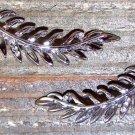 Hanging Leaf Rhinestones Stud Pierced Earrings Fashion Jewelry Silver Tone