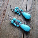 Long Turquoise Beads Tear Drop Dangle Hook Earrings Cowgirl Boho Fashion Jewelry