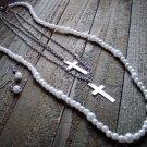 Statement Faux Pearl Dangle Gold Cross Long Multi Line Necklace Earrings Set Jewelry