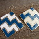 Blue White Chevron ZigZag Design Large Square Drop Dangle Hook Earrings Fashion Jewelry