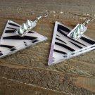 Spike Studded Zebra Animal Print Triangle Dangle Hook Earrings Fashion Jewelry