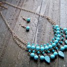 Turquoise Dangle Leaves Bead Boho Fashion Statement Bib Chain Necklace Earrings Jewelry