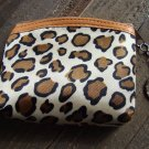 Brown Leopard Cheetah Animal Print Pattern Coin Lipstick Purse Zipper Key Chain