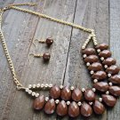 Brown Tear Drop Bead Adjustable Chain Fashion Statement Bib Necklace Earrings Jewelry