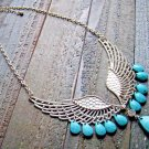Angel Wing Turquoise Rhinestone Tear Drop Adjustable Statement Necklace Fashion Jewelry