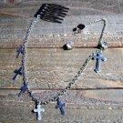 Ear Cuff Silver Tone Chain Crosses Earring Hair Comb Combo Rhinestone Statement Jewelry Boho