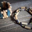 Wood Hematite Bead Necklace Stretch Bracelet Boho Fashion Jewelry Lot Set