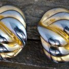 Vintage Signed CAROLEE Gold Silver Tone ClipOn Earrings Costume Fashion Jewelry