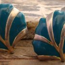 Vintage Teal Green Gold Tone Alloy Plant Leaf Clip On Earrings Fashion Jewelry