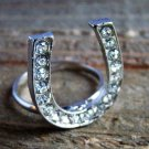 Rhinestone Horseshoe Ring Statement Cowgirl Fashion Jewelry Silver Tone