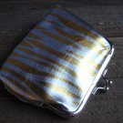 Yellow Zebra Animal Print Pattern Coin Lipstick Purse Clasp Kiss Lock Metallic Silver