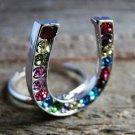 Rhinestone Horseshoe Ring Statement Cowgirl Fashion Jewelry Silver Tone