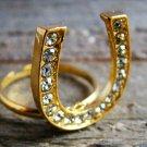 Rhinestone Horseshoe Ring Statement Cowgirl Fashion Jewelry Gold Tone