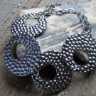 Gray Round Circle Pressed Hammered Style Adjustable Chain Link Fashion Bracelet