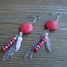 "3"" Red Long Dangle Earrings Feather Chain Bead Stone Gypsy Boho Cowgirl Jewelry"