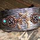 Rustic Silver Western Pistol Gun Wide Adjustable Cuff Bracelet Cowgirl Fashion Jewelry