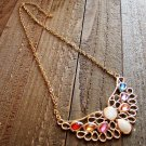 Angel Wing Multi Color Rhinestones Adjustable Chain Statement Necklace Fashion Jewelry Alloy