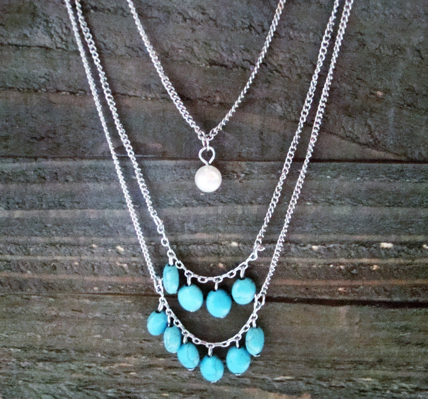 Long 3 Layer Dangle Turquoise Faux Pearl Adjustable Silver Tone Necklace Fashion Jewelry