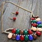 Multi-Color Tear Drop Bead Adjustable Chain Fashion Statement Bib Necklace Earrings Jewelry