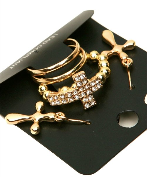 Size 5 Rhinestone Gold Tone Cross Stretch Ring Dangle Earrings Statement Jewelry Set