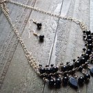 Black Dangle Leaves Bead Boho Fashion Statement Bib Chain Necklace Earrings Jewelry