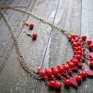 Red Dangle Leaves Bead Boho Fashion Statement Bib Chain Necklace Earrings Jewelry