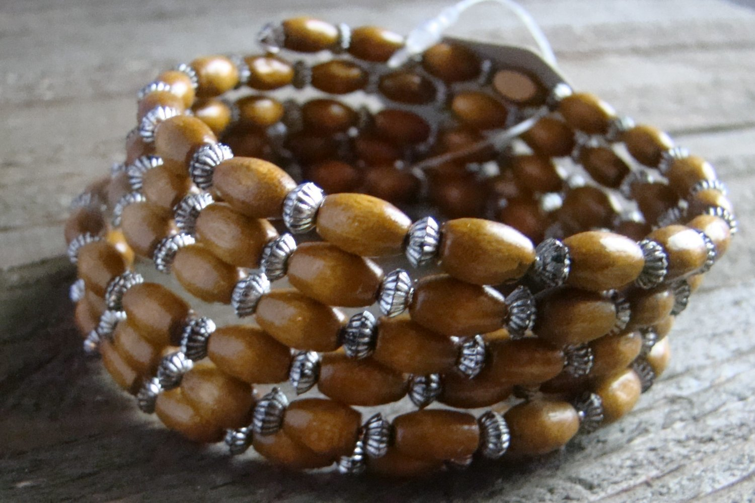 Spiral Stacked Light Brown Wood Bead Antiqued Burnish Accent Bracelet Boho Fashion Jewelry