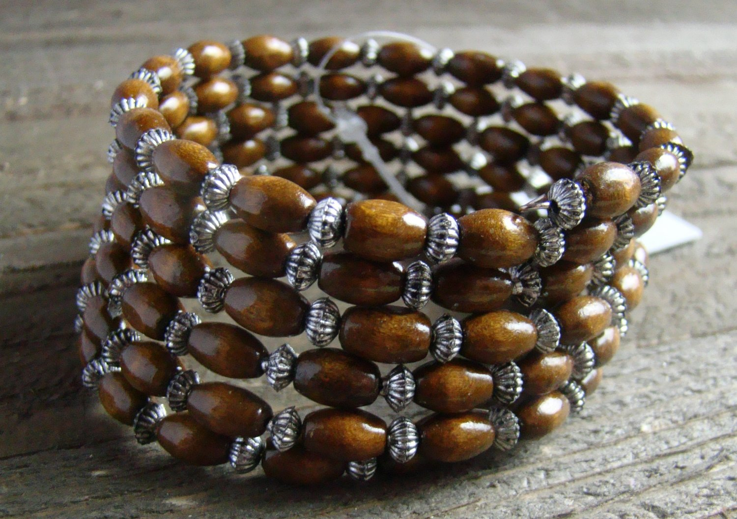 Spiral Stacked Brown Wood Bead Antiqued Burnish Accent Bracelet Boho Fashion Jewelry