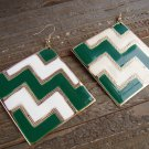 Green White Chevron ZigZag Design Large Square Drop Dangle Hook Earrings Fashion Jewelry